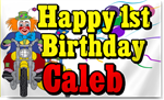 Clown 1st Birthday Banners