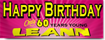 Pink 60th Birthday Banners