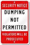 Dumping Not Permitted Sign