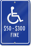 Handicapped Fine Parking Sign