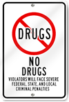 No Drugs Violators Sign