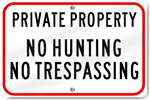 Horizontal Private Property No Hunting Sign