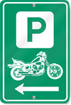 Motorcycle Parking Left Direction Sign
