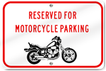 Horizontal Reserved Motorcycle Parking (Graphic) Sign