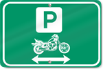 Horizontal Motorcycle With Double Directional Parking Arrow Sign