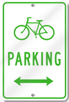 Bicycle Parking With Double Directional Arrow Sign