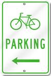 Bicycle Parking With Left Directional Arrow Sign