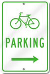 Bicycle Parking With Right Directional Arrow Sign