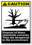 Dispose Of These Chemicals Correctly They Are Dangerous To The Environment Caution Signs
