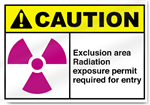 Exclusion Area Radiation Exposure Permit Required For Entry Caution Signs