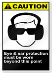 Eye & Ear Protection Must Be Worn Beyond This Point Caution Signs