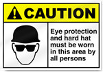 Eye Protection And Hard Hat Must Be Worn Caution Signs