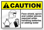 Face Shield, Apron And Rubber Gloves Req Caution Signs