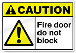 Fire Door Do Not Block Caution Signs