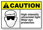 High Intensity Ultraviolet Light Wear Eye Protection Caution Signs