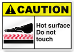 Hot Surface Do Not Touch Caution Signs