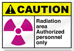 Radiation Area Authorized Personnel Only Caution Signs