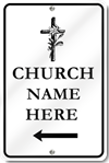 Custom Church Left Directional Arrow With Cross Sign