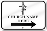 Horizontal Church Right Directional Arrow Sign