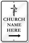 Custom Church Right Directional Arrow With Cross Sign
