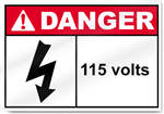 115 Volts Danger Sign
