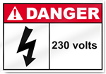 230 Volts Danger Sign