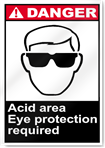 Acid Area Eye Protection Required Danger Signs