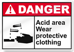 Acid Area Wear Protective Clothing Danger Sign