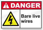 Bare Live Wires Danger Sign