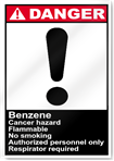 Benzene Cancer Hazard Flammable No Smoking Danger Signs