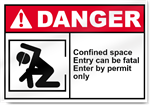 Confined Space Entry Can Be Fatal Enter By Permit Only Danger Signs