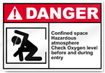 Confined Space Hazardous Atmosphere Check Oxygen Level Before And During Entry Danger Signs