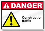 Construction Traffic Danger Sign