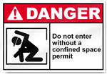 Do Not Enter Without A Confined Space Permit Danger Signs
