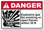 Explosive Gas No Smoking Or Open Flames Within 35 FT. Danger Signs