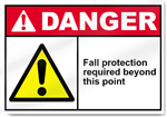 Fall Protection Required Beyond This Point Danger Signs