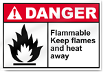 Flammable Keep Flames And Heat Away Danger Signs