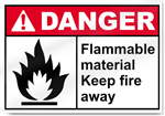 Flammable Material Keep Fire Away Danger Signs