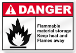 Flammable Material Storage Keep Heat And Flames Away Danger Signs
