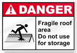 Fragile Roof Area Do Not Use For Storage Danger Signs