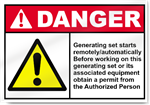 Generating Set Starts Remotely Danger Signs
