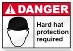 Hard Hat Protection Required Danger Signs