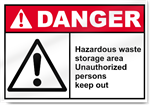 Hazardous Waste Storage Area Unauthorized Persons Keep Our Danger Signs