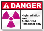 High Radiation Area Authorized Personnel Only Danger Signs