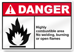 Highly Combustible Area No Welding, Burning Or Open Flames Danger Signs