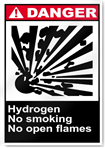 Hydrogen No Smoking No Open Flames Danger Signs