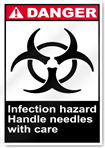 Infection Hazard Handle Needles With Care Danger Signs