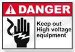 Keep Out High Voltage Equipment Danger Signs