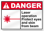 Laser Operation Protect Eyes And Skin From Beam Danger Signs