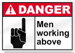 Men Working Above Danger Signs